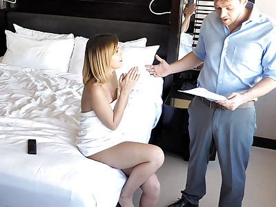 Nanny goes on vacation with family, gets her own hotel room.  Creepy dad installed bunch of nanny cams beforehand to perv on her.  Catches her do some shady shit and puts her over the barrel for sex.