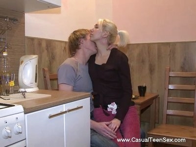Two close friends were enjoying tea in the evening when suddenly they both realized that they wanted to fuck. They decided to do that right in the kitchen. At first, they teased each other with kisses and petting and then moved on to fucking hard on a table.