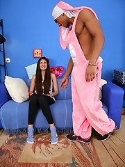 Black guy in pink costume fucks teen girl.