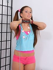 Teen slave chained up and fucked in the ass