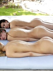 Three naked girls enjoy sexy times at the beach