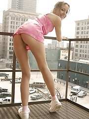 Andi Pink gets naughty by the fire escape