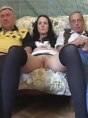 Two old farts get to stick their hard dicks inside a hot young babe's juicy pussy in hot threesome